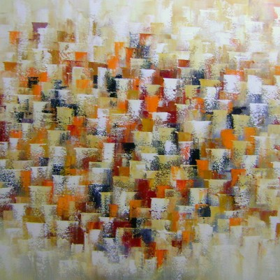 Quadro abstrato multicolorido pintado a mão  (cores 2a) 80x140 código 693