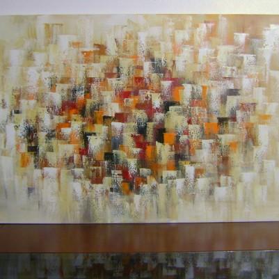 Quadro abstrato multicolorido pintado a mão  (cores 2a) 70x120 código 694