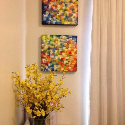 Quadros abstratos multicoloridos pintado a mão para composição cada 30x30 código 711