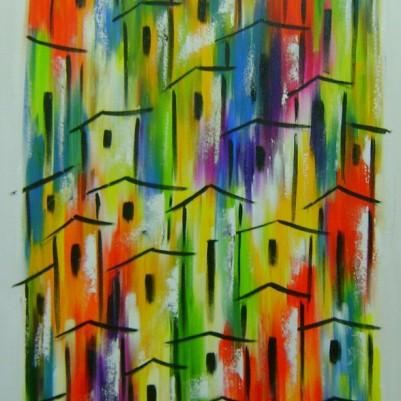 Quadro casario estilo moderno abstrato colorido vertical 2a 60x120 código 746