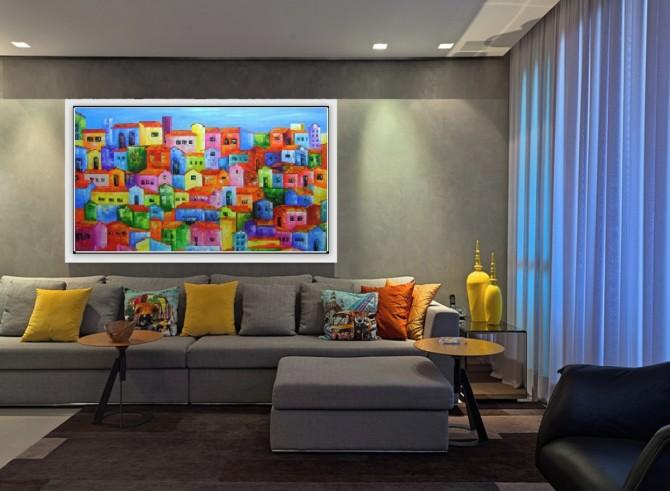 Quadro casario estilo moderno abstrato colorido 1a  80x140 código 761
