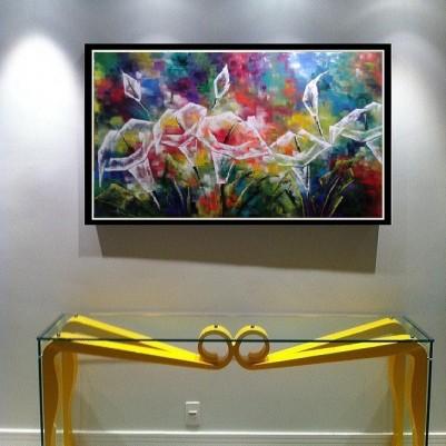 Quadro decorativo floral moderno abstrato,modelo 2,  medida 80x150 Código 866