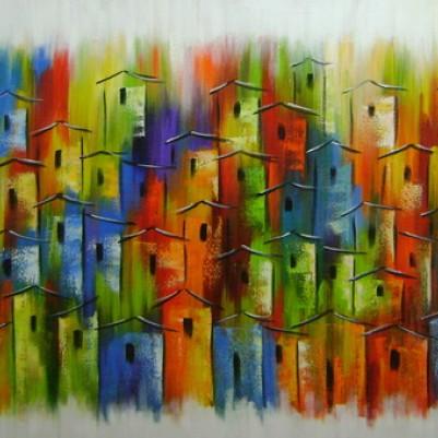 Quadro casario estilo moderno abstrato colorido 2a 70x120 código 878