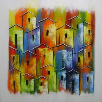 Quadro casario estilo moderno abstrato colorido 2a 60x60 código 881