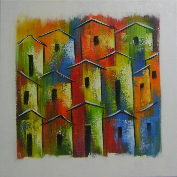 Quadro casario estilo moderno abstrato colorido 2a 40x40 código 933