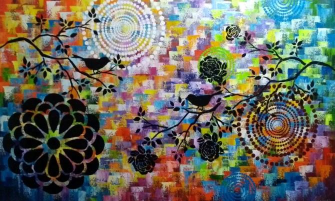 Quadro decorativo abstrato  mandalas 60x100 código 1169
