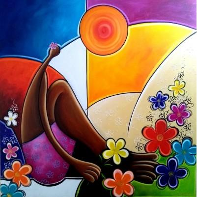 Quadro decorativo pintado a mão releitura de Tarsila do Amaral por Katia Almeida , O Abaporu, florista 90x90 código 1190