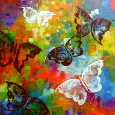 Quadro decorativo pintado a mão borboletas 70x90 vertical código 165
