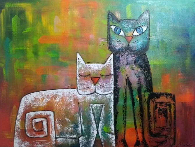 Quadro decorativo pintado a mão gatos medida 60x80 código  476