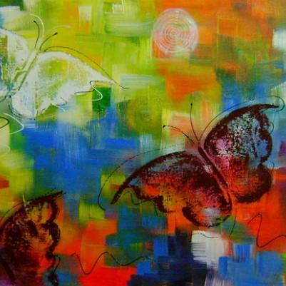 Quadro decorativo pintado a mão borboletas 40x120 código 801