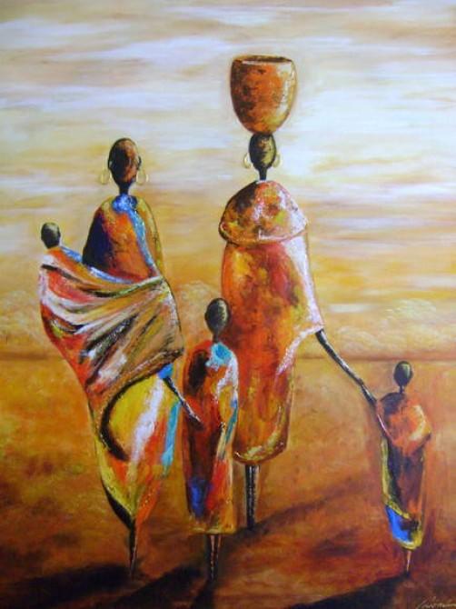 Quadro decorativo pintado a mão tema africano 1a vertical medida  50X70 código 262