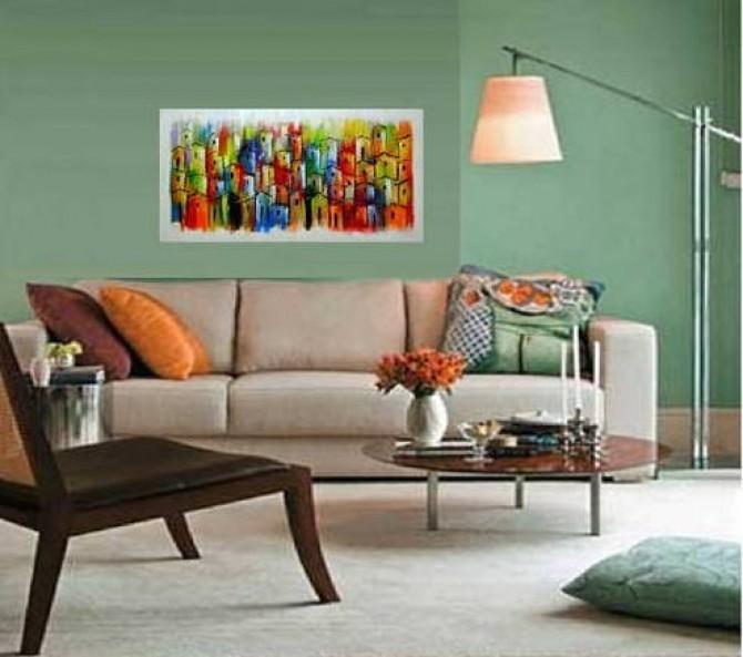 Quadro casario estilo moderno abstrato colorido 2a 50x100 código 461