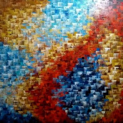 Quadro abstrato multicolorido pintado a mão 100x120 código 1124