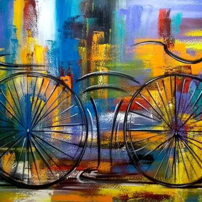 Quadro decorativo pintado a mão tema bike, ciclismo, bicicleta medida 80x120 código 1173