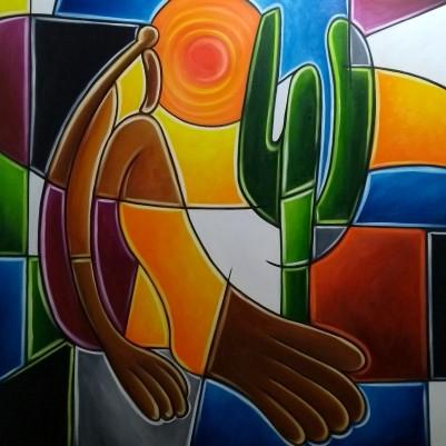 Quadro decorativo pintado a mão releitura de Tarsila do Amaral por Katia Almeida , O Abaporu  100x100 COD 1174