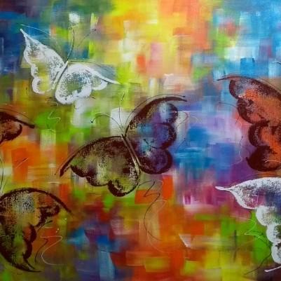 Quadro decorativo pintado a mão borboletas 60x100 código 977