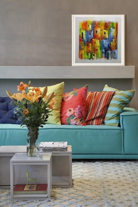Quadro casario estilo moderno abstrato colorido 2a 60x60 código 1031