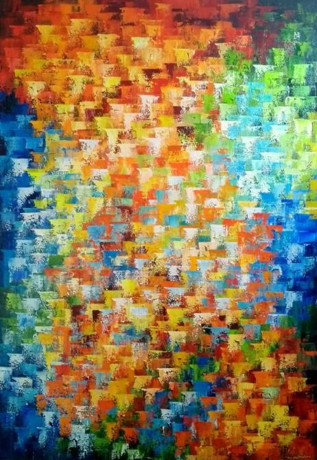 Quadro abstrato multicolorido pintado a mão, vertical 70x100 COD 1132