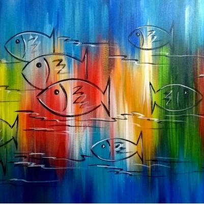 Quadro decorativo pintado a mão peixes 2b medida 60x120 código 1211