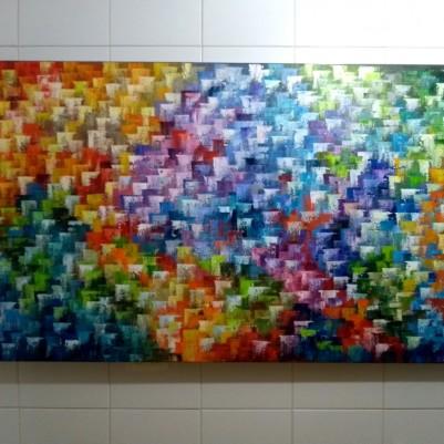 Quadro abstrato multicolorido pintado a mão 80x150 código 1221
