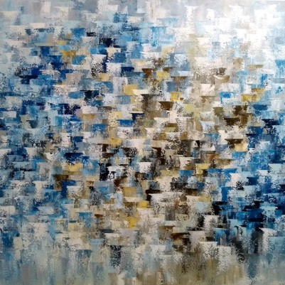 Quadro abstrato multicolorido pintado a mão 70x90 COD 1222