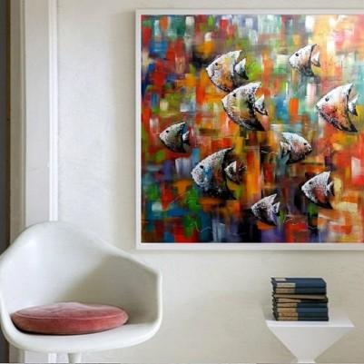Quadro decorativo pintado a mão peixes 1A medida 80x80 cod 1223