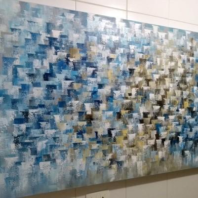 Quadro abstrato multicolorido pintado a mão ( cores 2a) 70x120 COD 1232