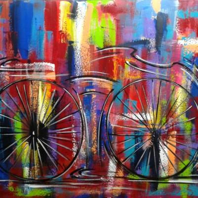 Quadro decorativo pintado a mão tema bike, ciclismo, bicicleta, abstrato,quadro original,medida  70x100 codigo 843