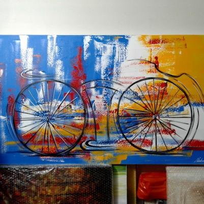 Quadro decorativo pintado a mão tema bike, ciclismo, bicicleta medida 70x120 código 1046