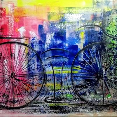 Quadro decorativo pintado a mão tema bike, ciclismo, bicicleta medida 70x120 código 1247