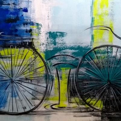 Quadro decorativo pintado a mão tema bike, ciclismo, bicicleta medida 70x120 código 1248