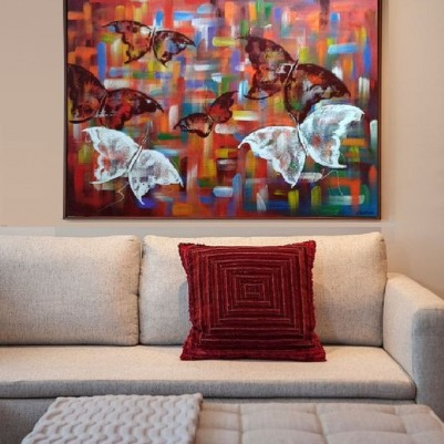 Quadro decorativo pintado a mão borboletas 70x100 COD 796