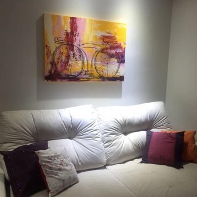 Quadro decorativo pintado a mão tema bike, ciclismo, bicicleta, abstrato,quadro original,medida  70x100 codigo 894
