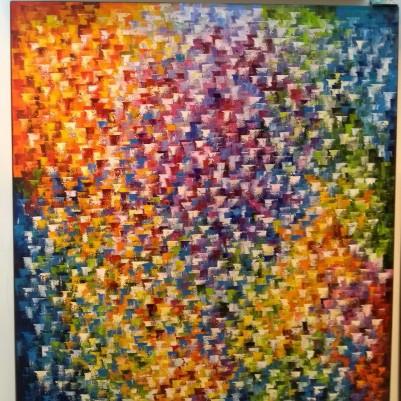 Quadro abstrato multicolorido pintado a mão, vertical 140x160 COD 1268