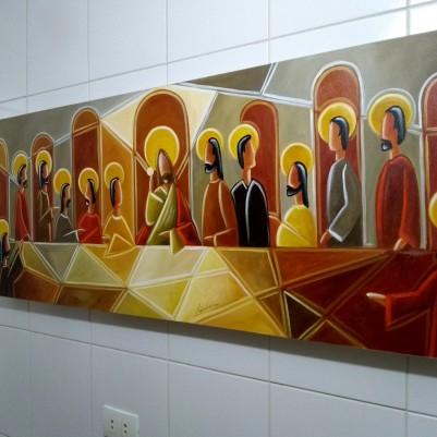 Quadro decorativo Santa ceia moderna pintada a mão tons terrosos medida 50X120 código 1276