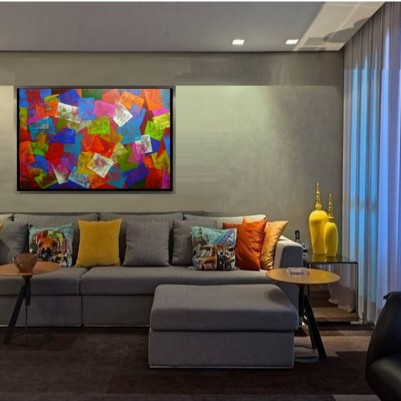 Quadro abstrato multicolorido geométricos espatulado pintado a mão mod 2 medida 80x120 código 1292