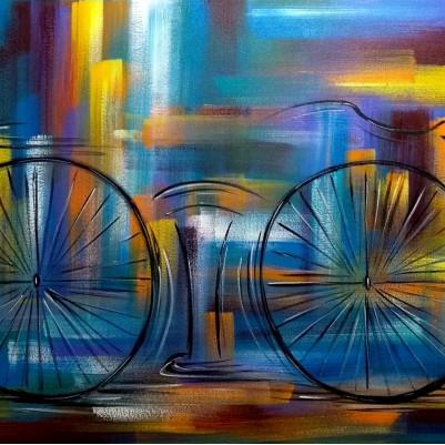 Quadro decorativo pintado a mão tema bike, ciclismo, bicicleta medida 80x120 código 1293