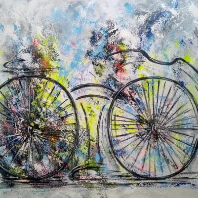 Quadro decorativo pintado a mão tema bike, ciclismo, bicicleta, abstrato,quadro original,medida  80x100 codigo 1294