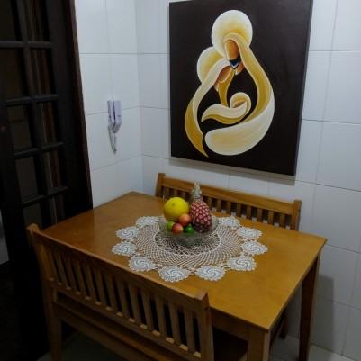 Quadro decorativo sagrada família pintado a mão,estilo cubista,moderno,medida 80x90 cod 1300