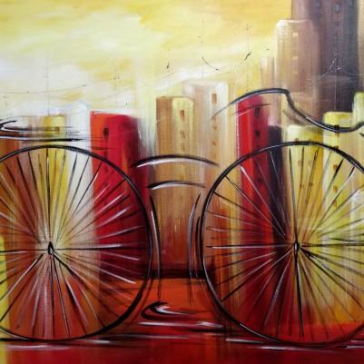 Quadro decorativo pintado a mão tema bike, ciclismo, bicicleta medida 80x120 código 1305