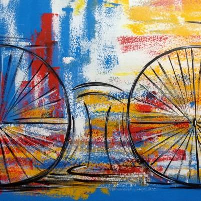 Quadro decorativo pintado a mão tema bike, ciclismo, bicicleta medida 60x120 código 1308