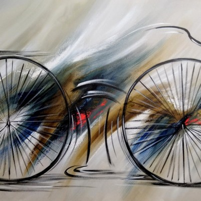 Quadro decorativo pintado a mão tema bike, ciclismo, bicicleta medida 70x120 código 1310