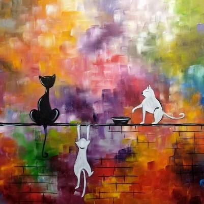 Quadro decorativo pintado a mão gatos 1A medida 60x130 cod 1311