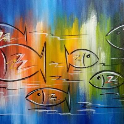 Quadro decorativo pintado a mão peixes 2b medida 40x120 código 1313