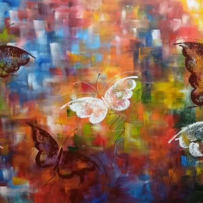 Quadro decorativo pintado a mão borboletas 60x120 COD 1316