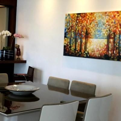 Quadro decorativo pintado a mão paisagem abstrato arvores 80x150 COD 1322