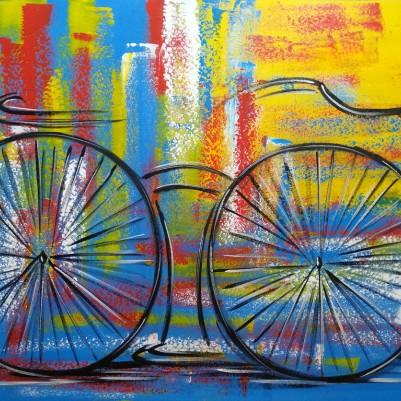 Quadro decorativo pintado a mão tema bike, ciclismo, bicicleta, abstrato,quadro original,medida  70x100 codigo 1328