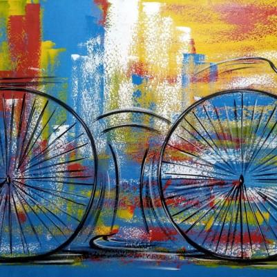 Quadro decorativo pintado a mão tema bike, ciclismo, bicicleta medida 80x150 código 1329