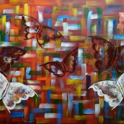 Quadro decorativo pintado a mão borboletas 70x100 COD 1330