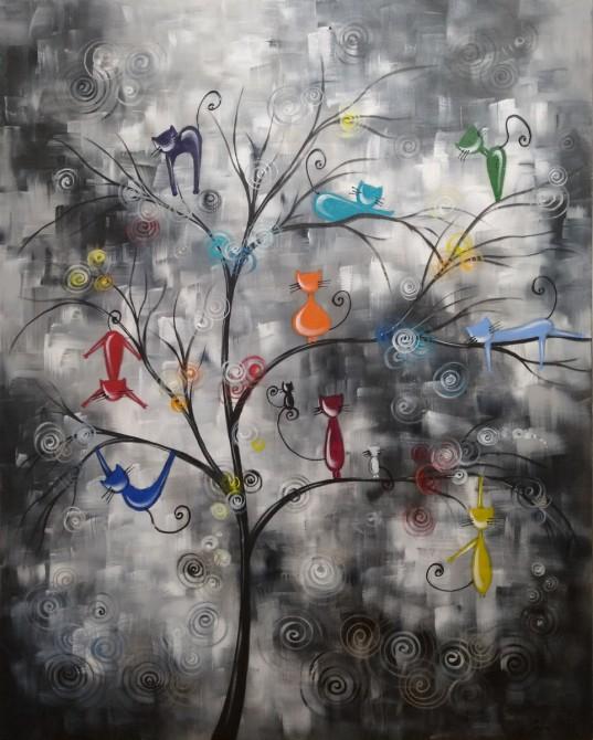 Quadro decorativo pintado a mão Arvores de gatos  medida 90x90 cod 1331